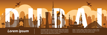 Dubai top famous landmark silhouette style,Taiwan text within,travel and tourism,vector illustration
