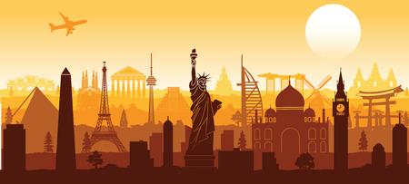 world famous landmark silhouette style with row design on sunset time,vector illustration Stock Illustratie