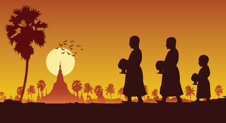 food offering to a monk or ask as a favour receive food or ask for alms,routine of monk,walking pass famous pagoda of myanmar,vector illustration Vectores
