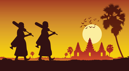 monk walk out of temple pilgrimage to make merit across angkor wat of cambodia. for peace silent and dharma in sunset scene silhouette style,vector illustration