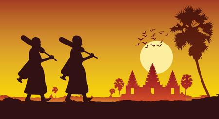 un moine sort du pèlerinage du temple pour faire du mérite à travers angkor wat au cambodge. pour la paix silencieuse et le dharma dans le style de silhouette de scène de coucher de soleil, illustration vectorielle Vecteurs