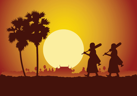 monk walk out of temple pilgrimage the road to make merit in rural and forest. for peace silent and dharma in sunset scene silhouette style,vector illustration Иллюстрация