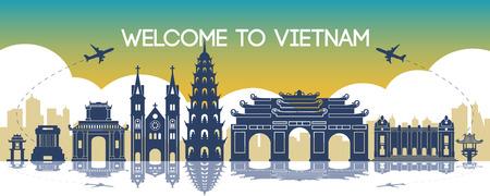 famous landmark of vietnam,travel destination,silhouette design, gradient color,vector illustration