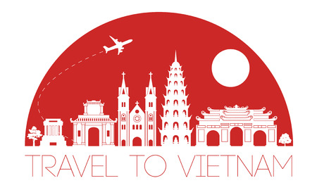 vietnam top famous landmark silhouette and dome with blue color style, welcome to vietnam,travel and tourism,vector illustration