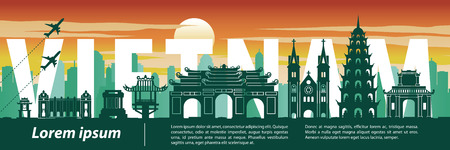 Vietnam top famous landmark silhouette style,text within,travel and tourism,vector illustration Vector Illustration