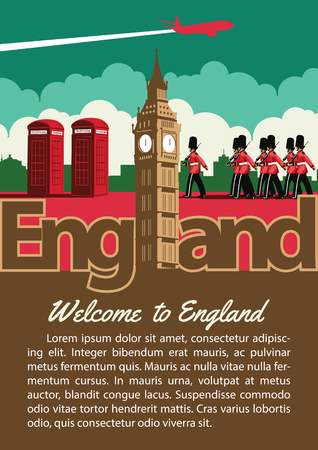 England landmark brochure in typography vintage color design,advertising artwork,vector illustration