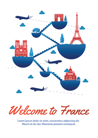 France top famous landmark silhouette style on float island connect link with stair,national flag color red and blue design,travel and tourism,vector illustration Illustration
