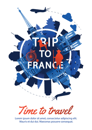 France top famous landmark silhouette style around text,national flag color red and blue design,travel and tourism,vector illustration