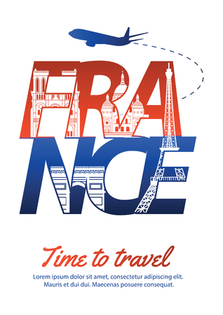 France famous landmark silhouette style inside text,national flag color red and blue design,vector illustration
