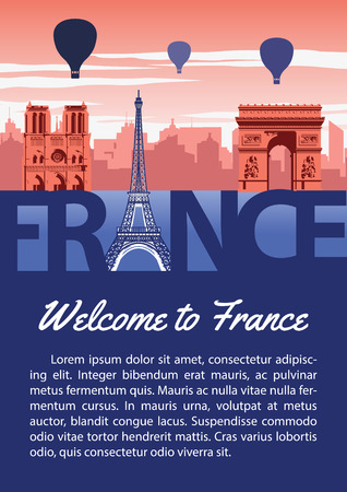 France landmark brochure in typography national flag color design,advertising artwork,vector illustration Çizim