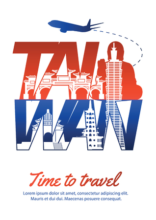 Taiwan famous landmark silhouette style inside text,national flag color red and blue design,vector illustration