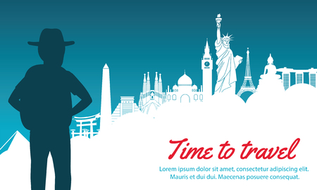 adventurer look to world landmark ahead,silhouette design,vector illustration,green blue gradient,concept artwork