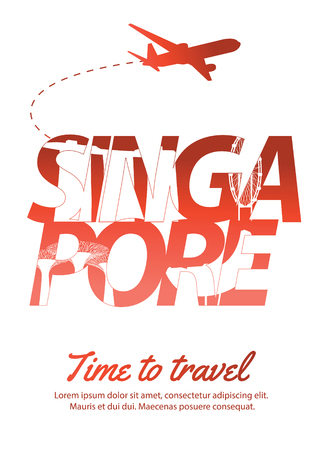 Singapore famous landmark silhouette style inside text,national flag color red and white design,vector illustration