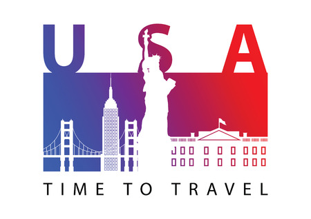 usa famous landmark silhouette style,blue and red gradient,vector illustration,flag color design