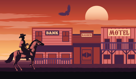 silhouette and monochrome scenery cowboy come to cowboy village on sunset time,vintage red color style,vector illustration