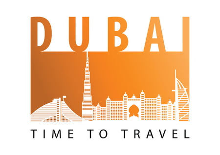 Dubai famous landmark silhouette style,desert tone color,vector illustration,flag color design Çizim