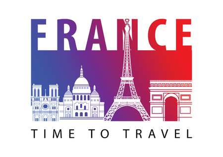 France famous landmark silhouette style,blue and red gradient,vector illustration,flag color design Çizim
