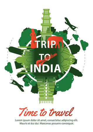 India famous landmark silhouette style around text,green and red color design,travel and tourism,vector illustration