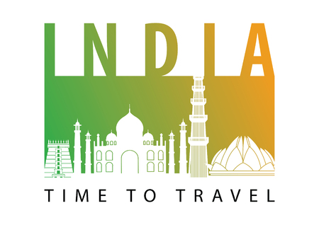 India famous landmark silhouette style,green and orange gradient,vector illustration,flag color design