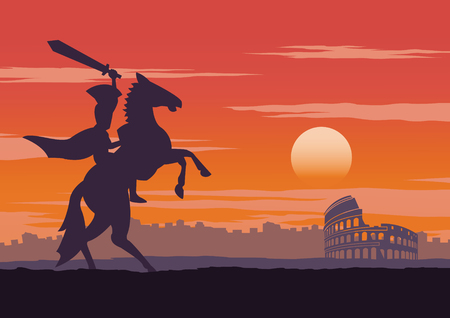 knight have be victorious,ride on horse nearby colosseum,comeback home on sunset time,vintage color,vector illustration