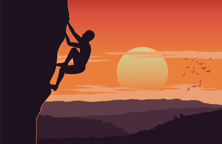 man climb up cliff on sunset time carefully around with mountain,extreme activity of the world,silhouette design,vector illustration Çizim