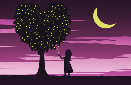 girl look to firefly on heart shape tree.mean to love fulfill with light,night time with pink color,vector illustration Çizim