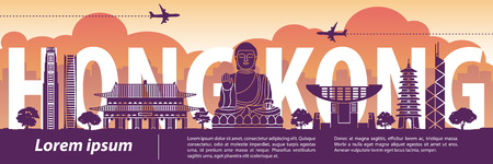 Hong Kong famous landmark silhouette style,text within,travel and tourism,vector illustration