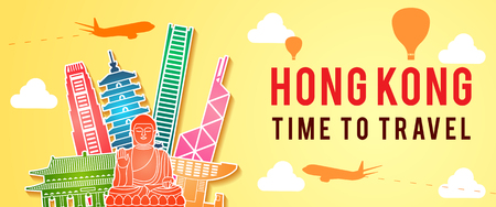 banner of Hong Kong famous landmark silhouette colorful style,travel and tourism,vector illustration Ilustracja