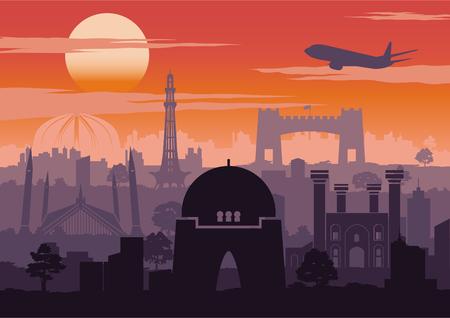 Il famoso punto di riferimento del Pakistan in stile silhouette con design a righe sull'ora del tramonto, colore vintage, illustrazione vettoriale