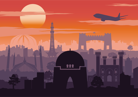 Pakistan famous landmark silhouette style with row design on sunset time,vintage color,vector illustration