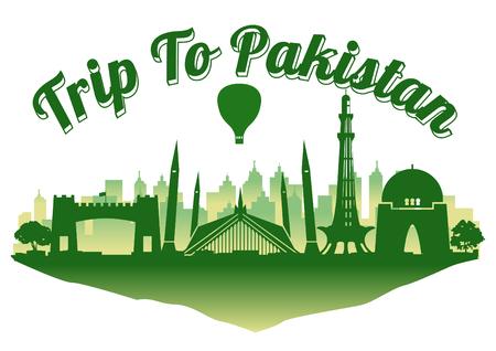 Il famoso punto di riferimento del Pakistan in stile silhouette sull'isola galleggiante, viaggi e turismo, colore verde blu scuro, illustrazione vettoriale