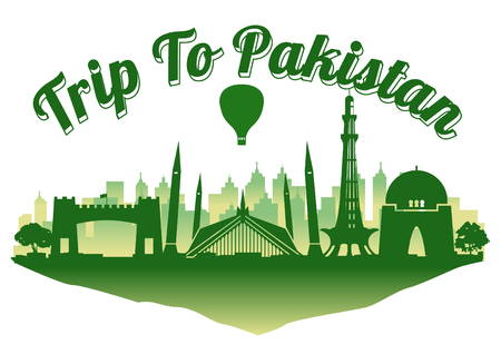 Pakistan famous landmark silhouette style on float island,travel and tourism,dark blue green color,vector illustration