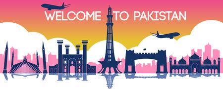 Pakistán hito de Hong Kong, destino de viaje, diseño de silueta, color degradado, ilustración vectorial