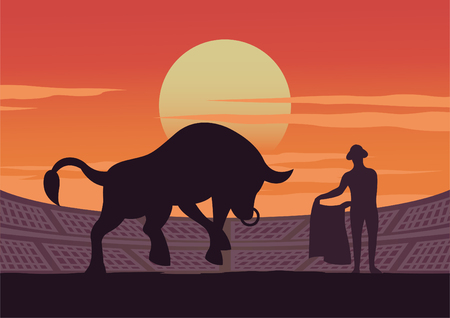 matador and bull are shown in stadium,culture and tradition of Spain,sunset time,vector illustration Çizim
