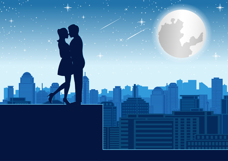 couple hug together near tower roof top around with skyscraper,silhouette style,vector illustration