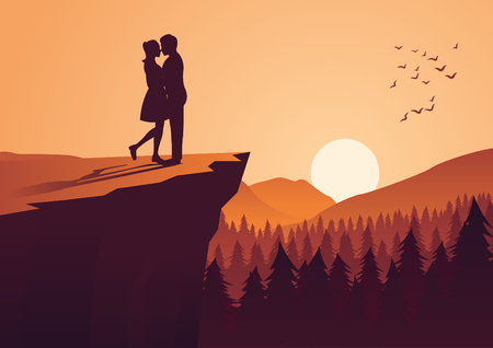 couple hug together near cliff and close to a pine forest,silhouette style,vector illustration Çizim