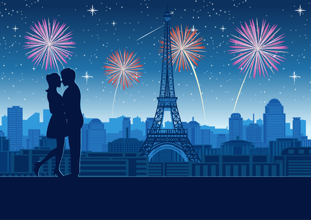 couple hug together near tower roof top around with skyscraper near Eiffel tower in Paris,silhouette style,vector illustration Ilustração