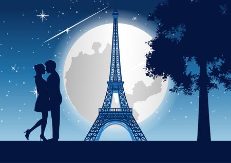 par abrazar junto con rascacielos cerca del árbol y la torre Eiffel en París por la noche, estilo silueta, ilustración vectorial