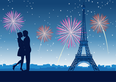 couple hug together around with skyscraper near Eiffel tower in Paris at celebration night,silhouette style,vector illustration Ilustração