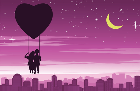 Couple sit on swing that float by heart shape balloon above the city,concept art mean love make people happy like fly in sky,vector illustration