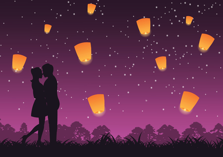 couple hug together and kiss around with nature,lantern above,concept art,vector illustration Иллюстрация