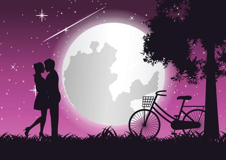 couple hug together and kiss near bicycle and big tree,concept art,vector illustration