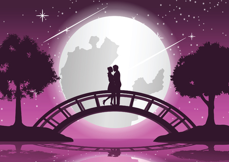 couple hug together and kiss on bridge that link between two coasts,concept art,vector illustration