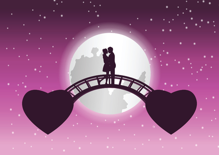 couple hug together and kiss on bridge that link between fly heart shape,concept art mean love link by haert,vector illustration Çizim