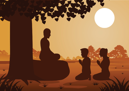 Buddhist couple pay respect to monk politely with faith and believe,silhouette style vector illustration