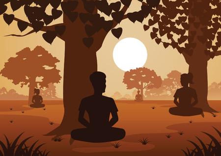 Les femmes et les hommes bouddhistes paient la méditation du train pour parvenir à la paix et sortir de la souffrance sous l'arbre, illustration vectorielle de style silhouette Vecteurs