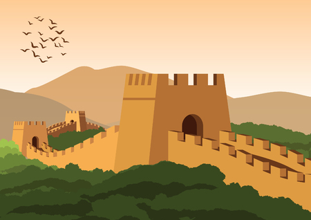 great wall,famous landmark and heritage of the world and china,vintage color,vector illustration Stock Illustratie