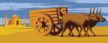 cow cart move pass Taj Mahal landmark of India,lifestyle of Indian,vintage color,vector illustration