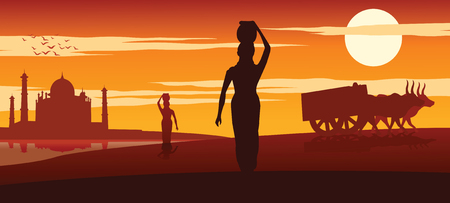 woman carry water for routine use from river near Taj mahal while cart move pass on sunset time,vector illustration Illustration