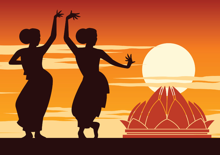 India dancer perform near famous landmark on sunset time,silhouette design,vector illustration Иллюстрация